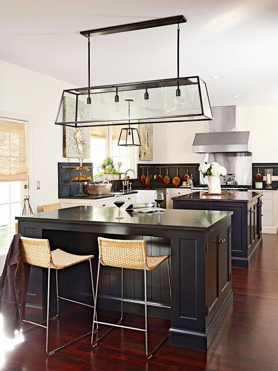 Craftsman Kitchen with Flat panel cabinets, Stainless Steel, electric cooktop, L-shaped, Paint, Farmhouse sink, flush light