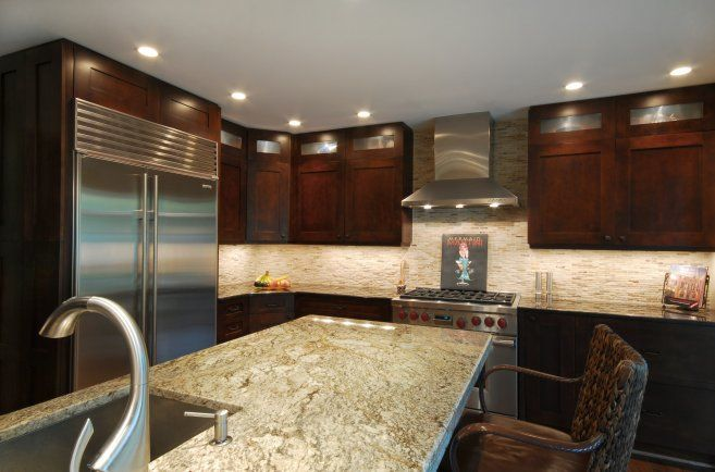 Contemporary Kitchen with Standard height, Ms international - bordeaux dream, European Cabinets, gas range, Wood cabinet