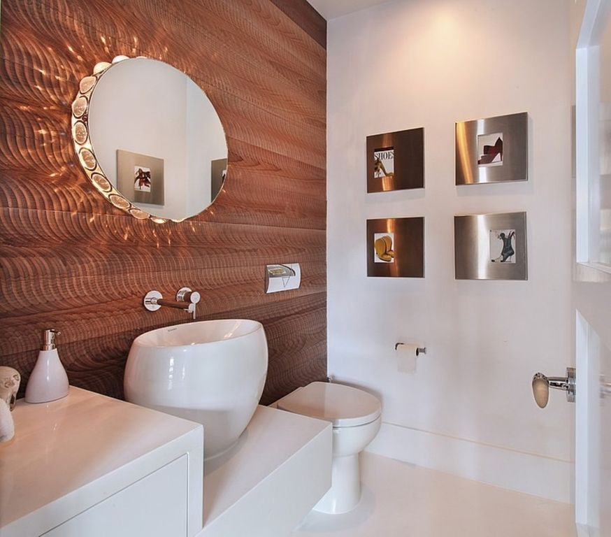 Contemporary Powder Room with Corian counters, three quarter bath, Flush, hollywood lights, European Cabinets, Vessel sink