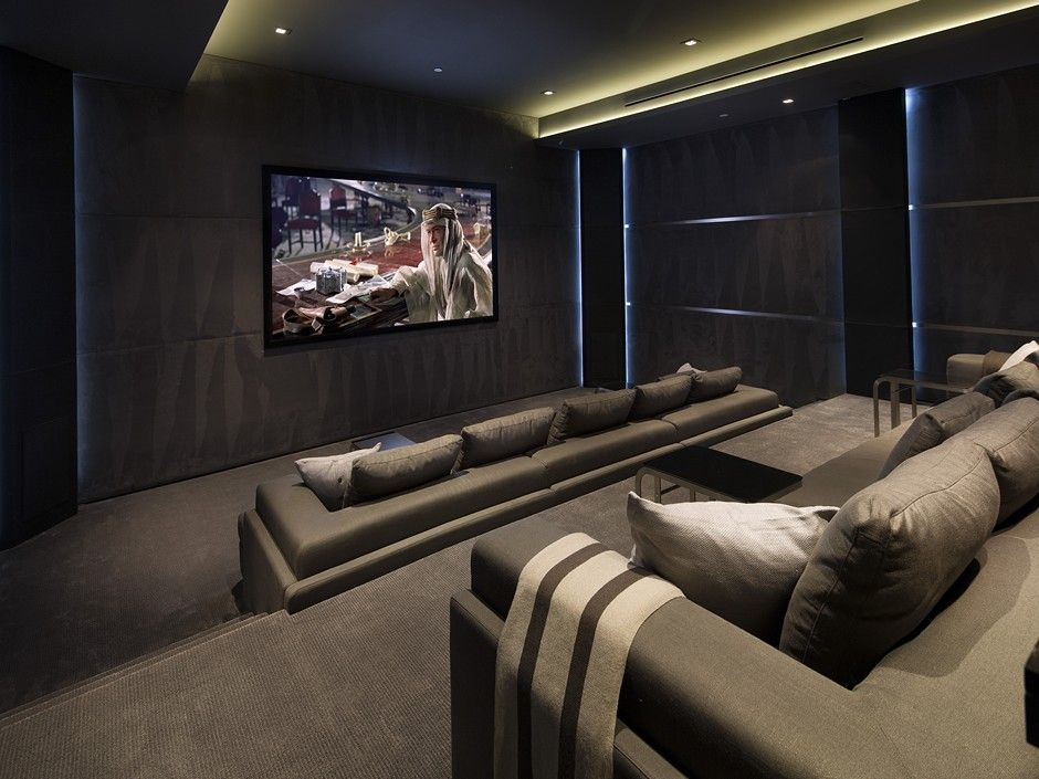 Traditional Home Theater with can lights, Carpet, Standard height