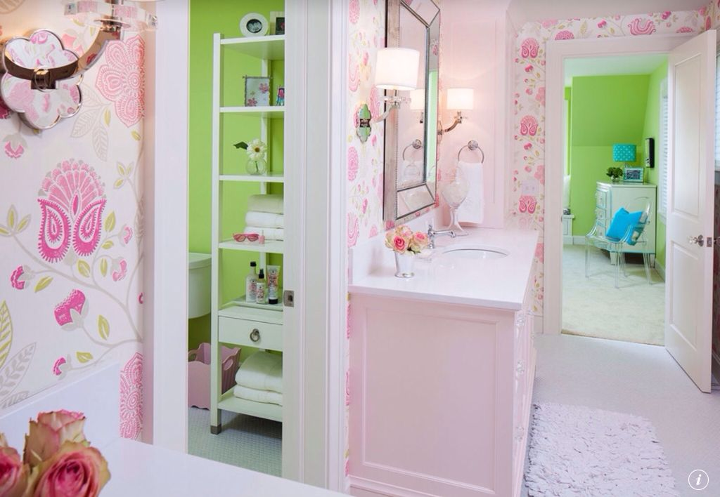 Traditional Kids Bathroom with interior wallpaper, Kids bathroom, Carpet, Wall sconce, Corian counters, specialty door