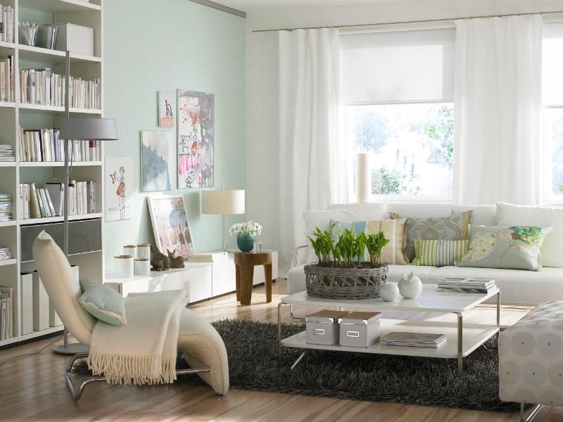 Eclectic Living Room with Ikea Billy Bookcase White, Smith & noble classic roller shades, High ceiling, Paint 1, Casement