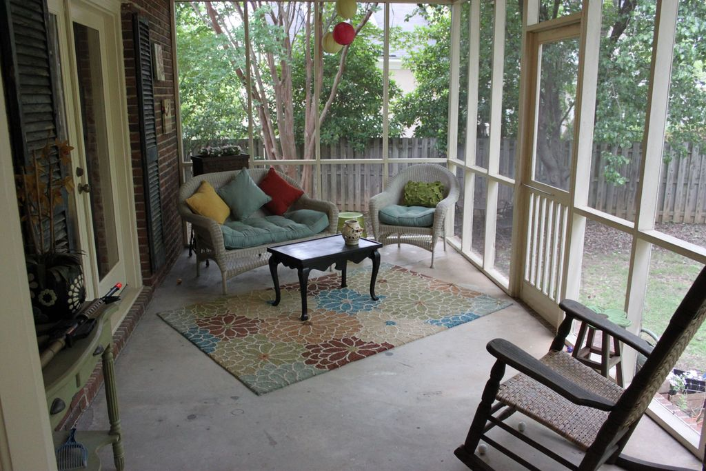 Country Porch with exterior tile floors, Screened porch, French doors, Fence