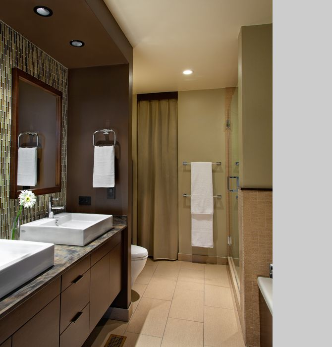 Contemporary Master Bathroom with full backsplash, can lights, Double sink, Vessel sink, stone tile floors, European Cabinets