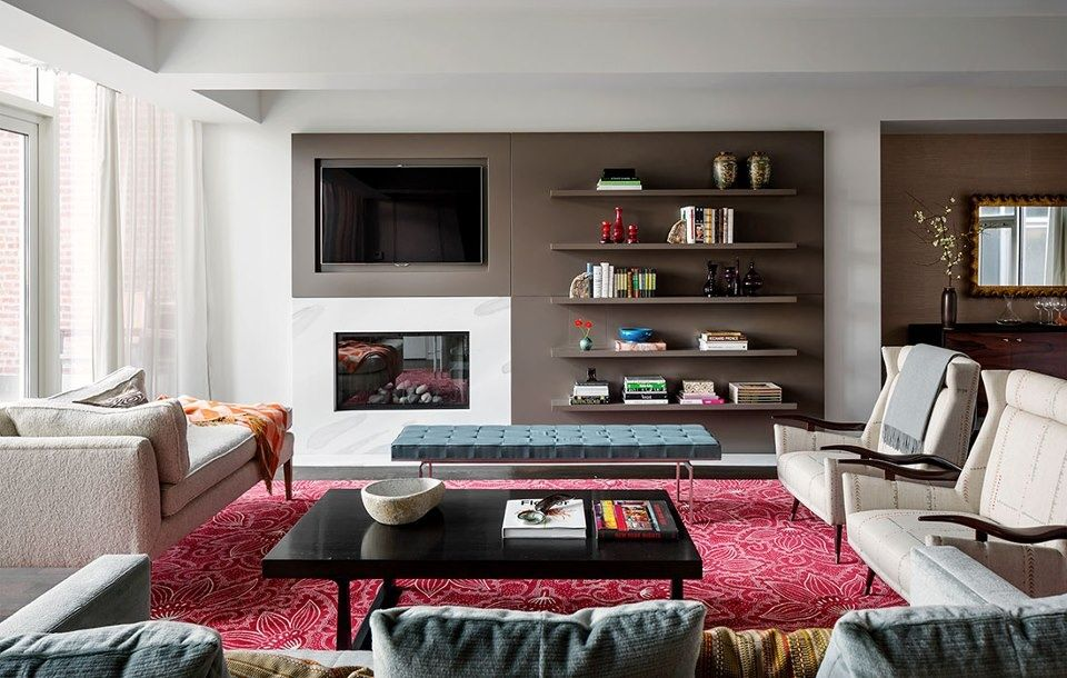 Built-in bookshelves/cabinets, Concrete, Contemporary, Exposed Beams, Normal (2.7m), Transom