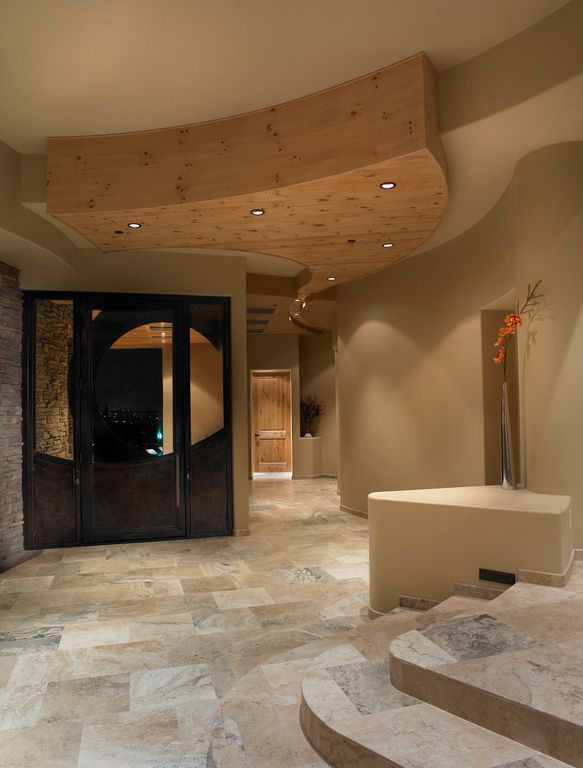 Contemporary Entryway with Glass panel door, Standard height, travertine tile floors, stone tile floors, can lights