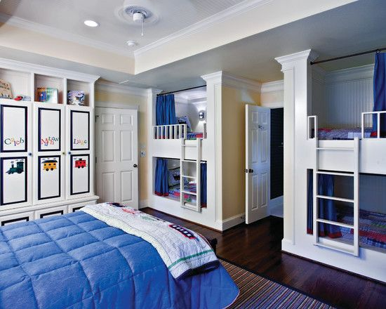 Traditional Kids Bedroom with Laminate floors, six panel door, Bunk beds, Crown molding, Standard height, can lights