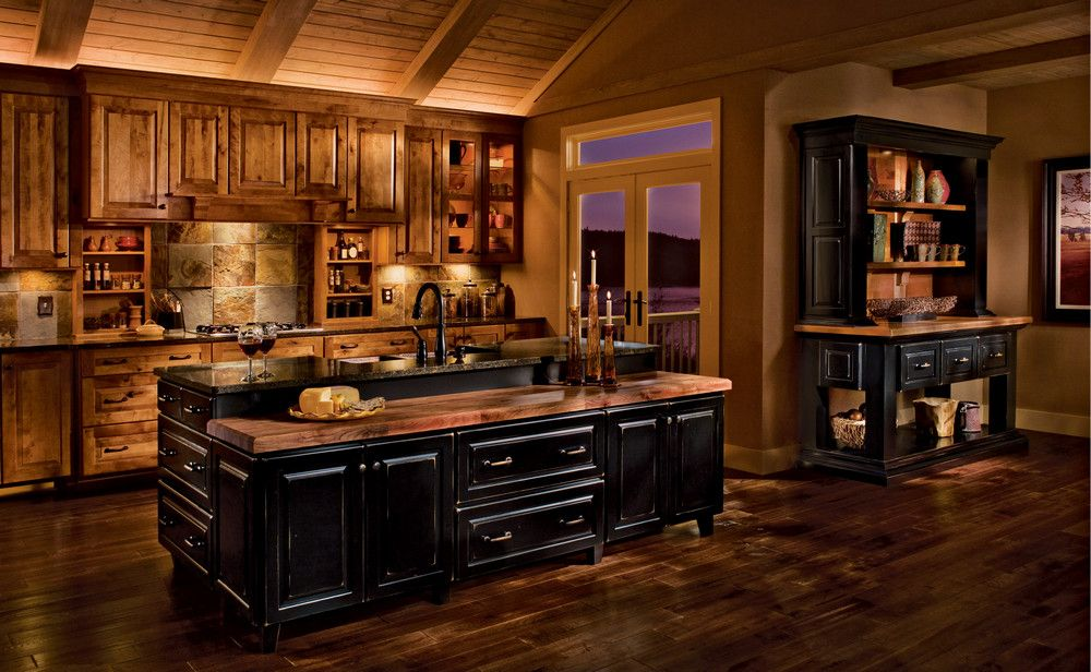 Rustic Kitchen with Slate Tile, Stone Tile, electric cooktop, Exposed beam, Glass panel, Multiple Sinks, One-wall, Flush