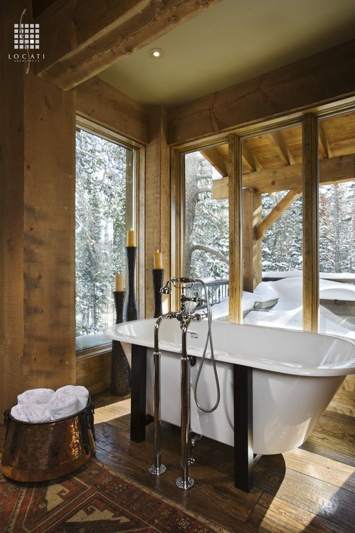 Rustic Master Bathroom with Exposed wood beams, Bathtub, Chrome faucet, Old Dutch International Round Copper Bucket