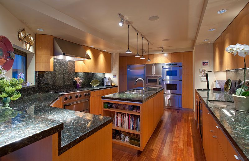 Modern Kitchen with Hampton Bay 4 ft. White Track Lighting Track, Kitchen island, European Cabinets, built-in microwave