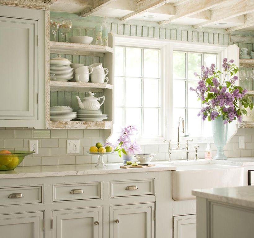 Sage Green Cabinets Marble Counters Subway Backsplash: Great Cottage Kitchen