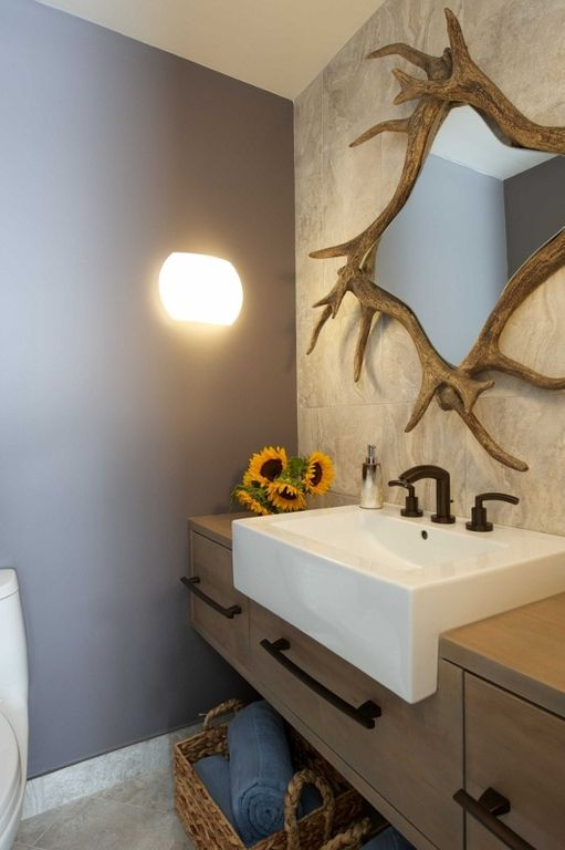 Contemporary Powder Room with stone tile floors, Old plank road - faux antler mirror #coobw994, Wood counters, Inset cabinets