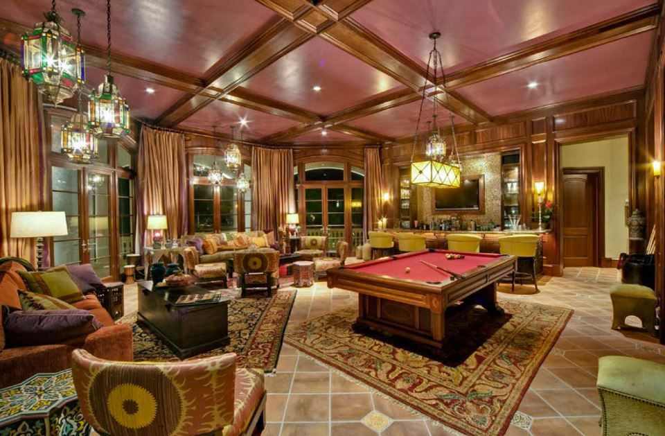 Contemporary Game Room with Crown molding, French doors, Box ceiling, Transom window, flush light, can lights, High ceiling