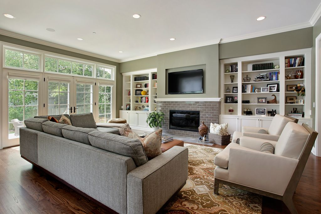 Traditional Living Room with Wayside furniture klausner drew two-piece sectional sofa with left arm chaise, can lights