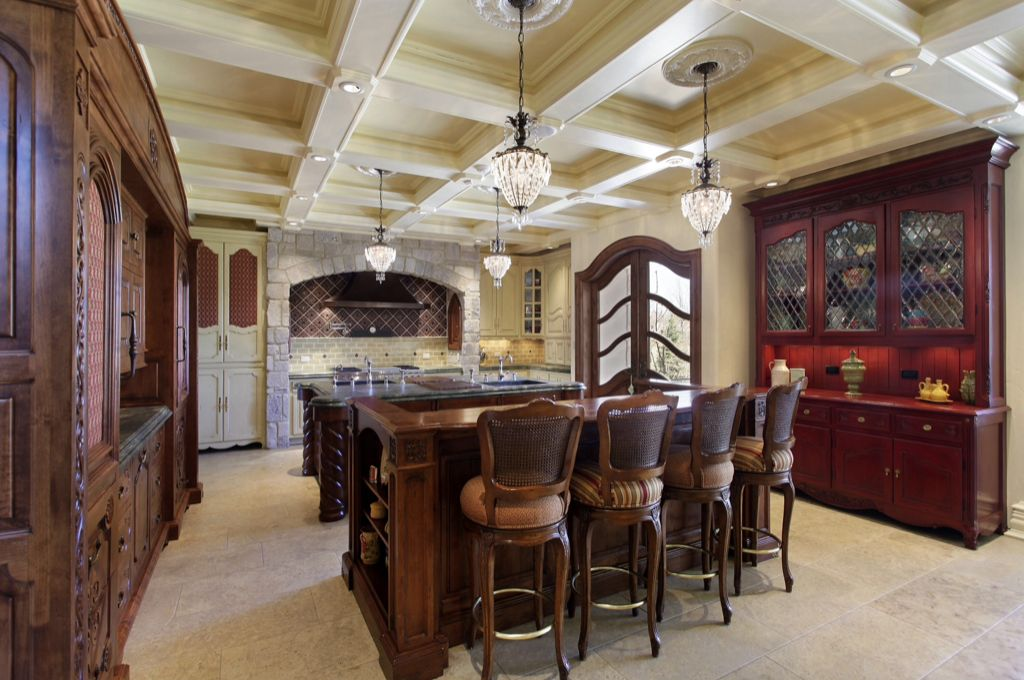 Traditional Kitchen with full backsplash, Glass panel door, Undermount sink, can lights, Box ceiling, Subway Tile, U-shaped