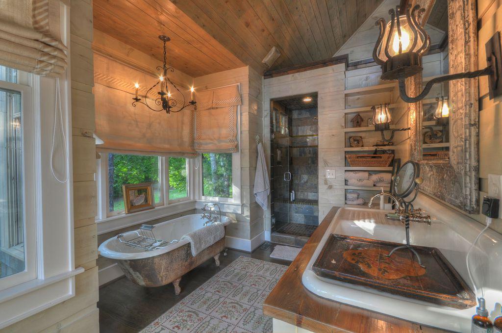 Rustic Full Bathroom with Full Bath, Clawfoot, frameless showerdoor, Standard height, Wood counters, full backsplash, Shower