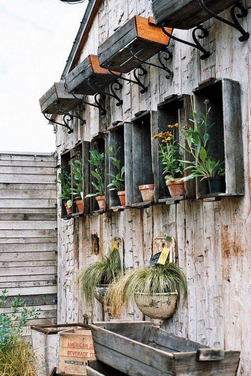 Rustic Patio with Bellevue iron bird shelf brackets, Fence, Naples window box planter, Rustic flower boxes