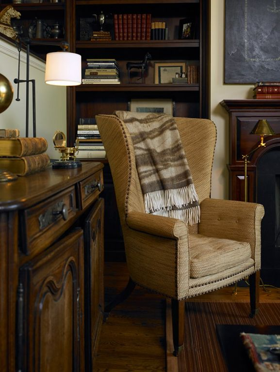 Traditional Living Room with Standard height, other fireplace, Lodge Stripe Wool Throw Blanket, Hardwood floors, Fireplace