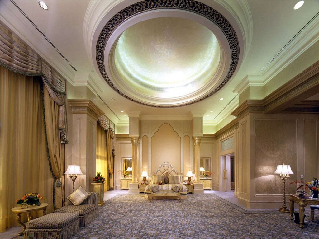 Traditional Master Bedroom with Crown molding, Columns, interior wallpaper, High ceiling, sandstone floors, can lights