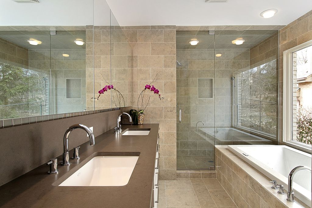 Contemporary Master Bathroom with Undermount sink, stone tile floors, Shower, picture window, flush light, Soapstone, Bathtub