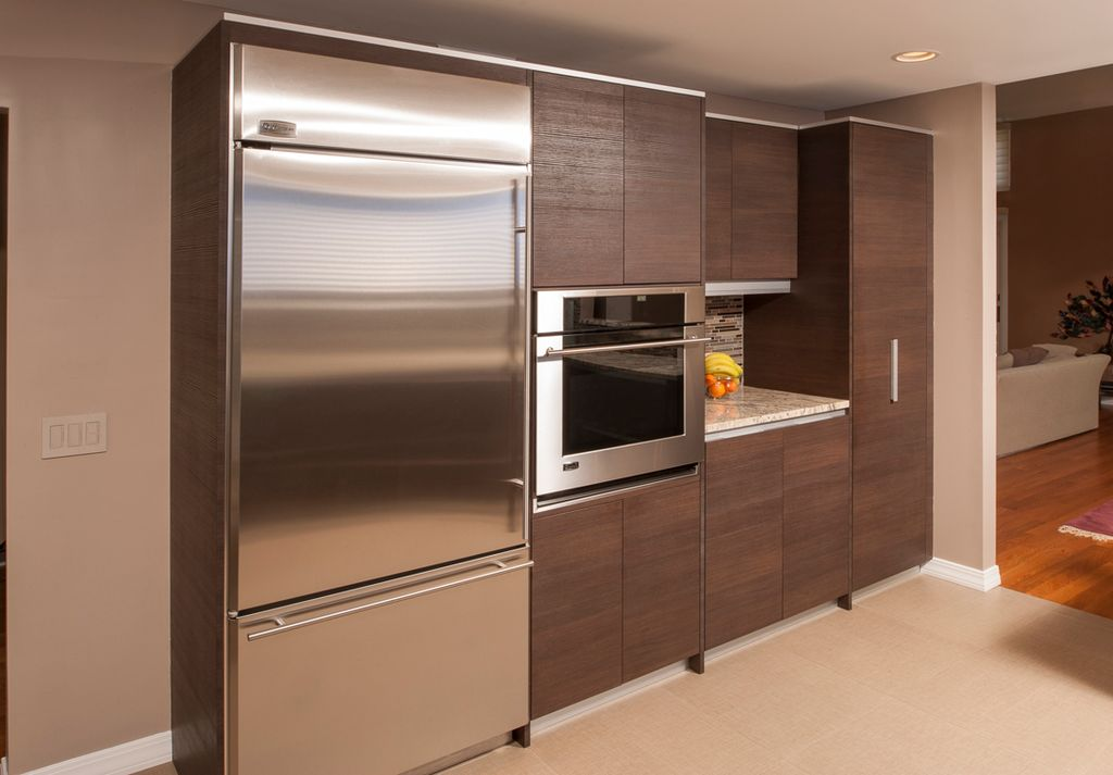 Contemporary Kitchen with Flush, wall oven, One-wall, Subway Tile, European Cabinets, Multiple Refrigerators, Standard height