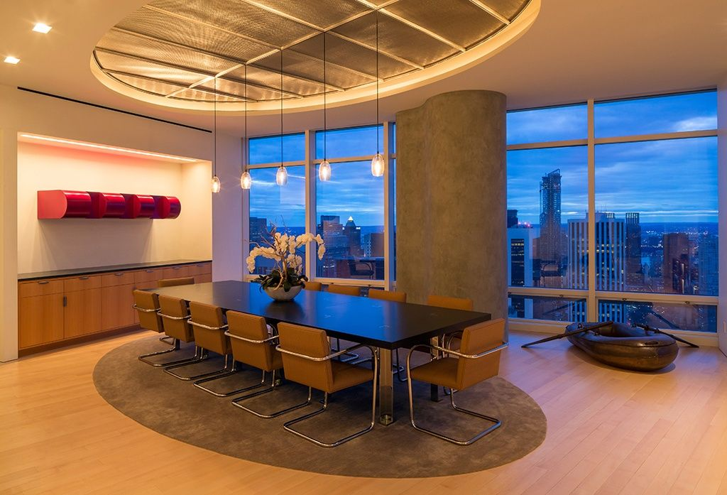 Contemporary Dining Room with picture window, High ceiling, Casement, can lights, Box ceiling, Hardwood floors, Pendant light