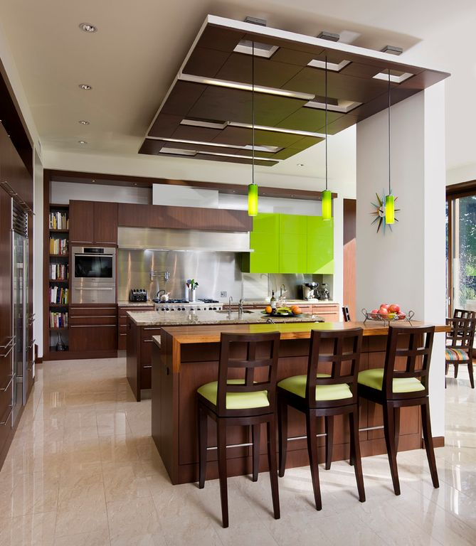 Modern Kitchen with Coaster furniture - mix and match wheat back 29 inch barstool (cappuccino), Simple granite counters