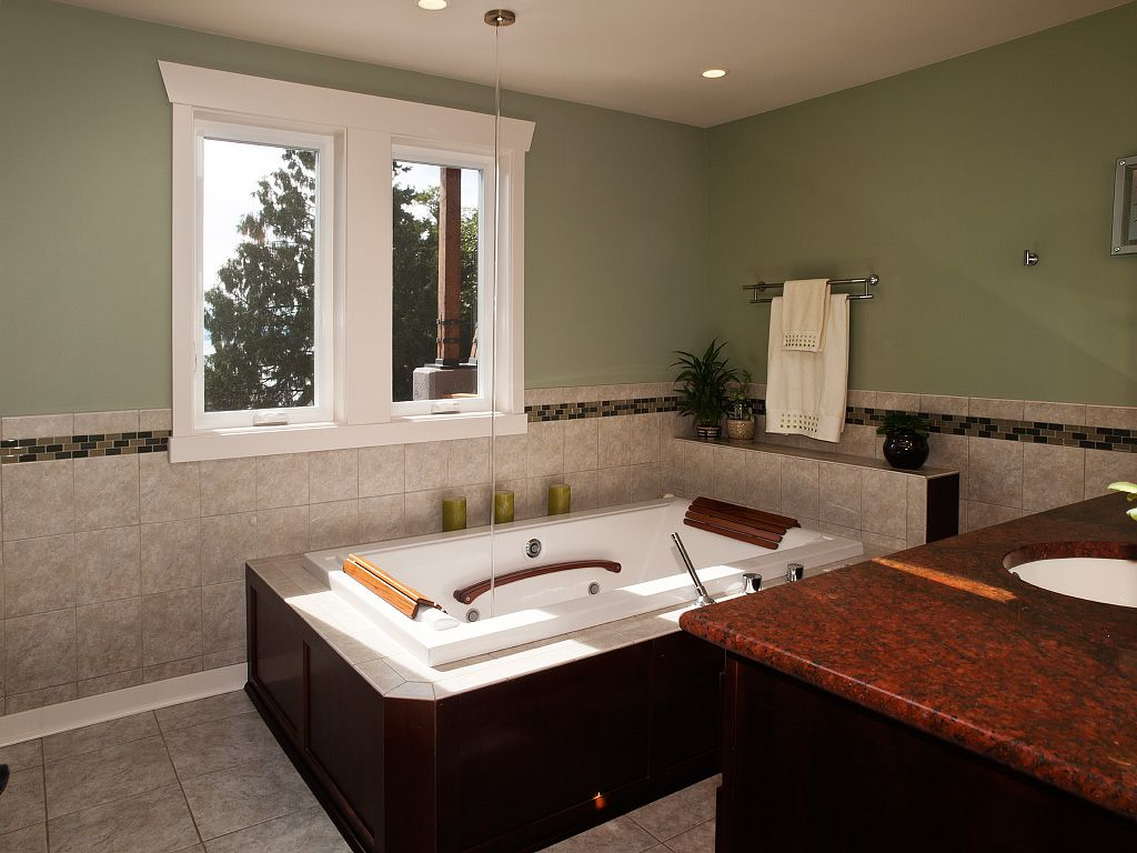 Modern Master Bathroom with Kohler - tea-for-two drop-in bath, Undermount sink, Jetted, Master bathroom, Copper counters