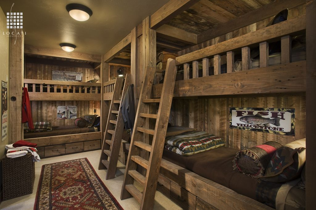 Country Guest Bedroom with Columns, Bunk beds, Exposed beam, Built in bunk beds, flush light, Carpet, Standard height