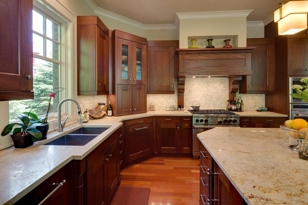 Craftsman Kitchen with Paint 2, wall oven, Flat panel cabinets, flush light, Ms international - colonial gold, gas range