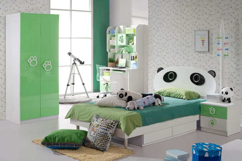 Contemporary Kids Bedroom with interior wallpaper, Concrete floors, Built-in bookshelf, Standard height, specialty window