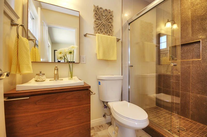 Contemporary 3 4 bathroom with flush vessel sink in san for Bathroom configurations