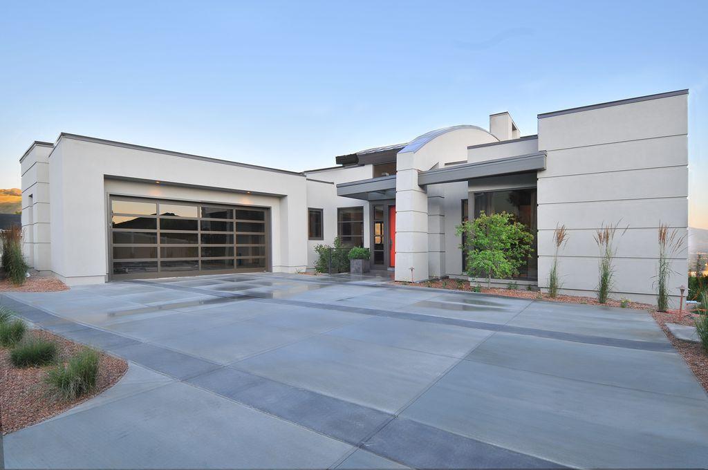 Contemporary Garage with specialty window, Standard height, Concrete tile , picture window, flat door, specialty door