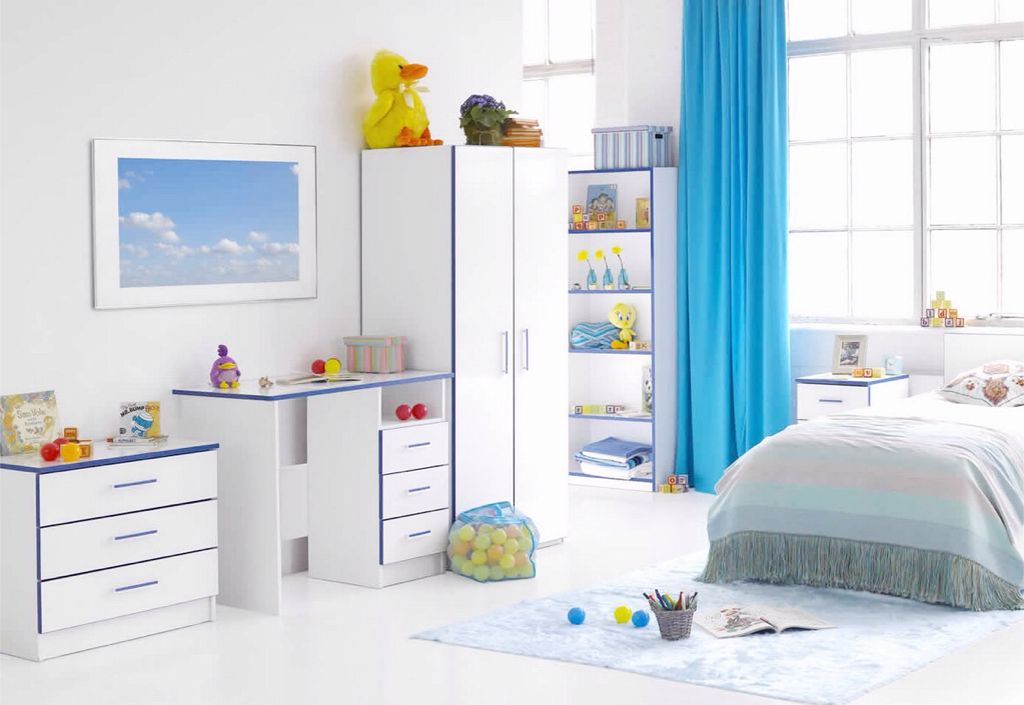 Contemporary Kids Bedroom with High ceiling, Built-in bookshelf, Concrete floors