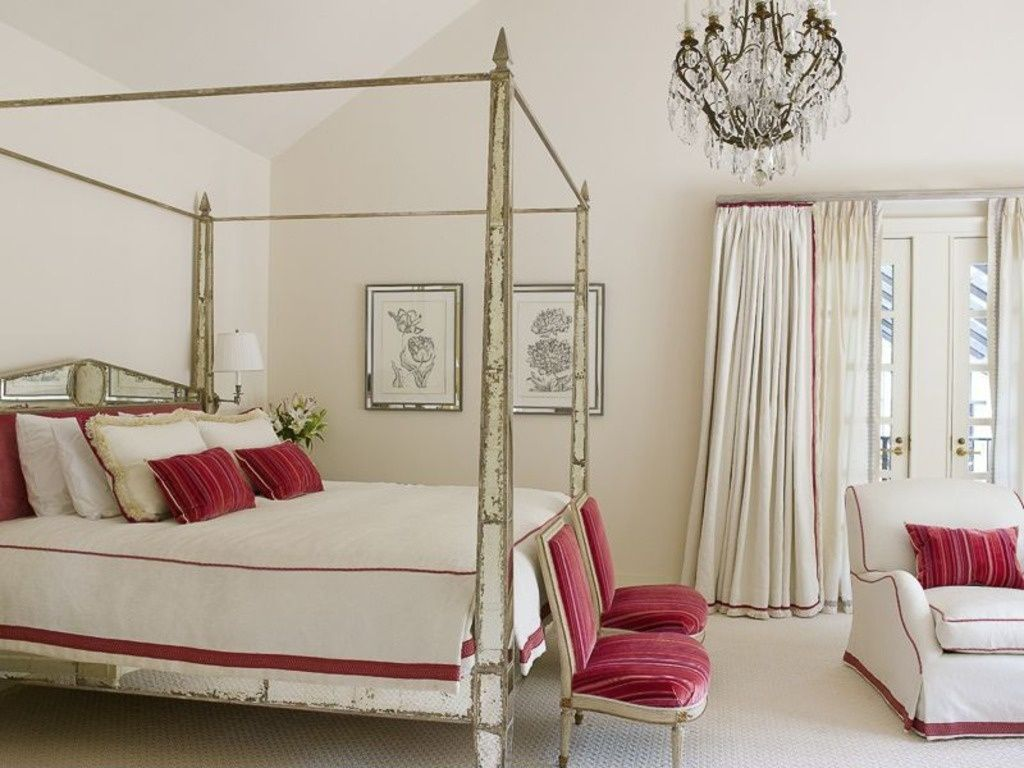 Traditional Master Bedroom with Carpet, High ceiling, Chandelier, French doors, bedroom reading light