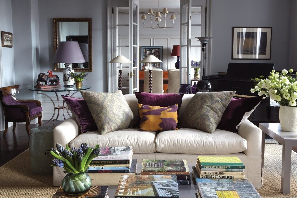 Contemporary Living Room with West elm jute boucle rug - flax, French doors, picture window, Paint 1, Parsons end table