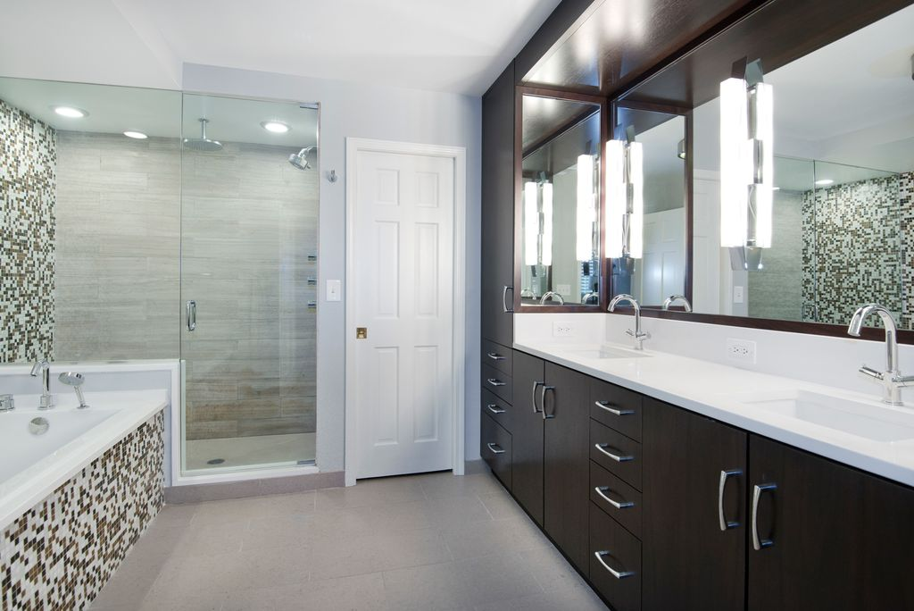 Contemporary Master Bathroom with Shower, Undermount sink, European Cabinets, Bathtub, Flush, Rain shower, Corian counters