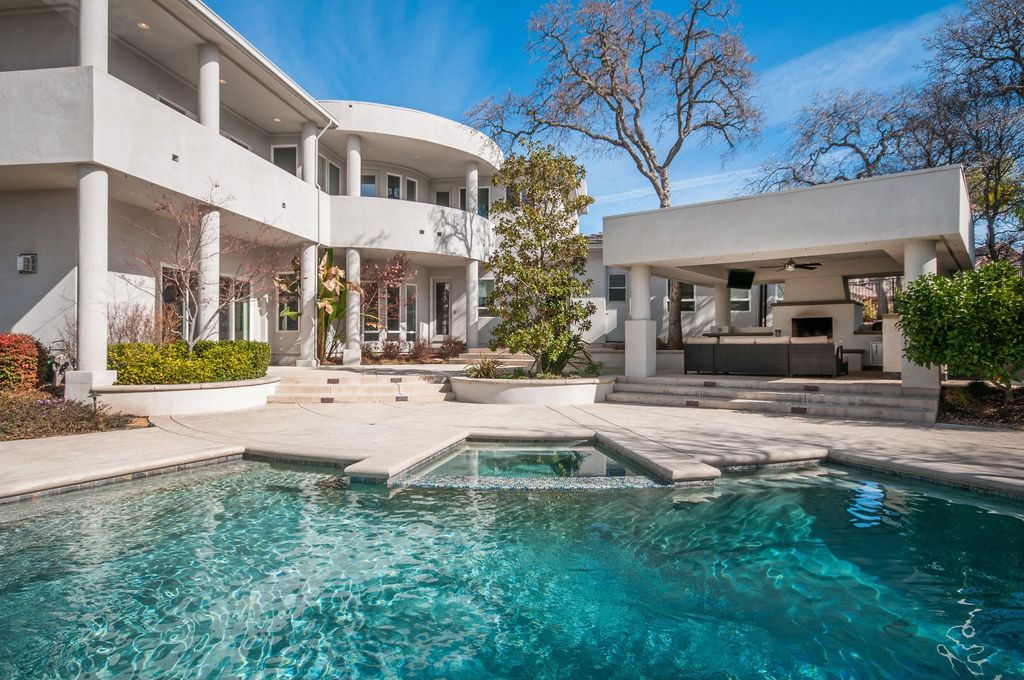 Contemporary Swimming Pool with Outdoor kitchen, Pool with hot tub, Raised beds, French doors, exterior tile floors