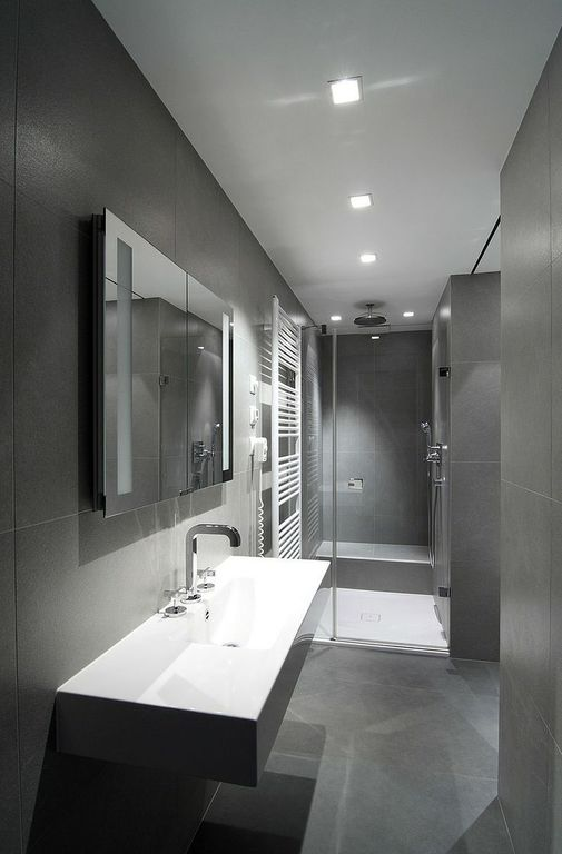 Contemporary 3/4 Bathroom with can lights, Beton concrete 18 in. x 18 in. glazed porcelain floor and wall tile, Wall Tiles