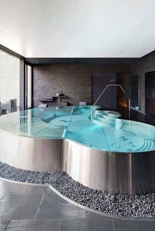 Contemporary Hot Tub with Paint, picture window, exterior stone floors