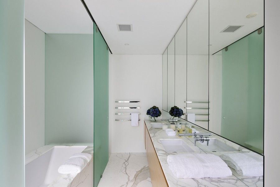 Contemporary Master Bathroom with Bathtub, Freestanding, Standard height, Undermount sink, can lights, complex granite floors