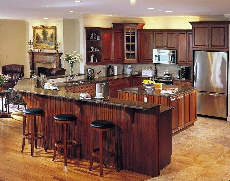 Craftsman Kitchen with can lights, stone tile floors, double dishwasher, Glass panel, Fireplace, Framed Partial Panel