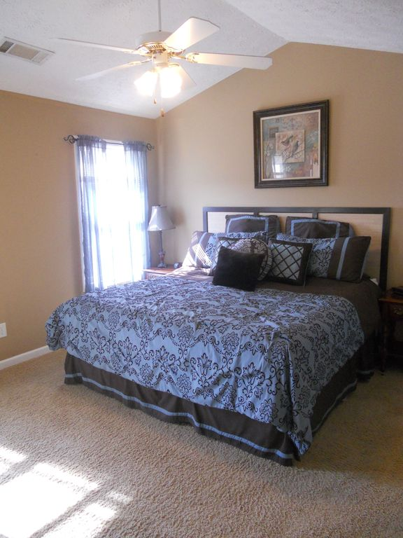 Traditional Guest Bedroom with Carpet, Standard height, Ceiling fan