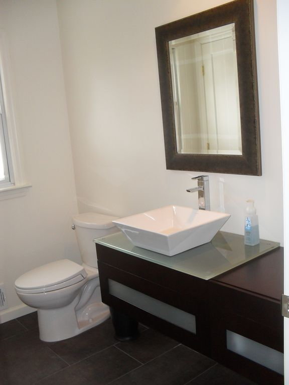 Modern Powder Room with Square White Ceramic Vessel Bathroom Caracalla Sink CA4256, Paint 1
