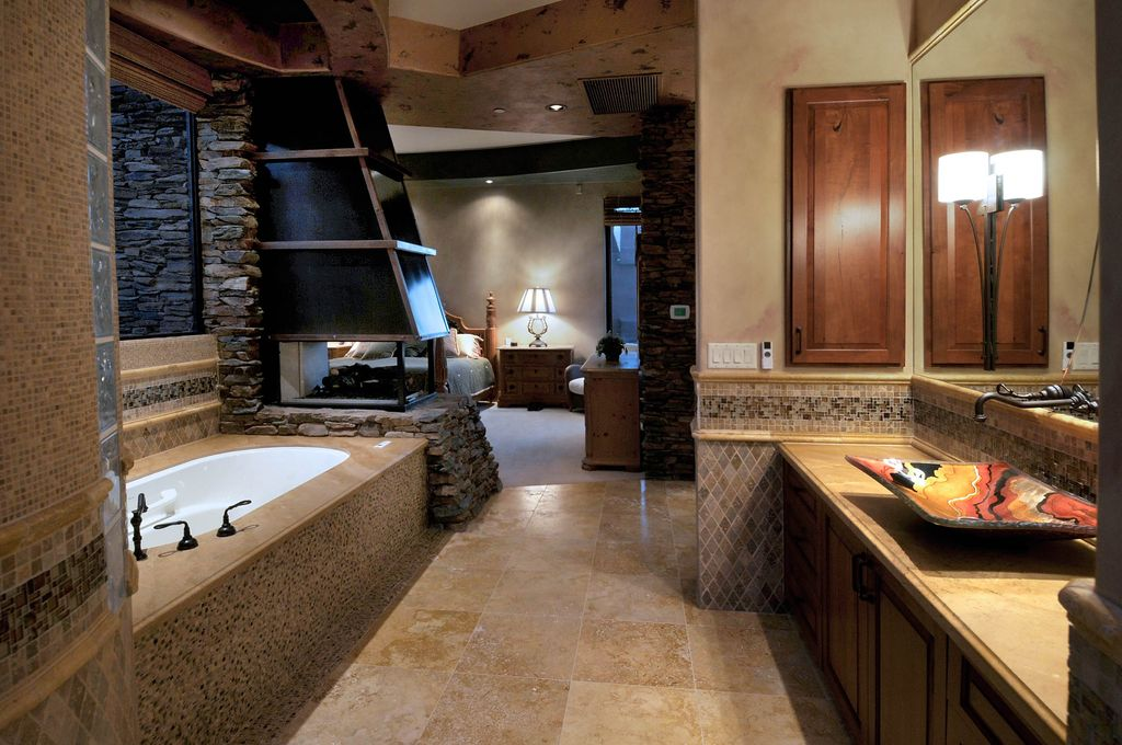 Rustic Master Bathroom With Ceramic Tile By Soloway Designs Inc