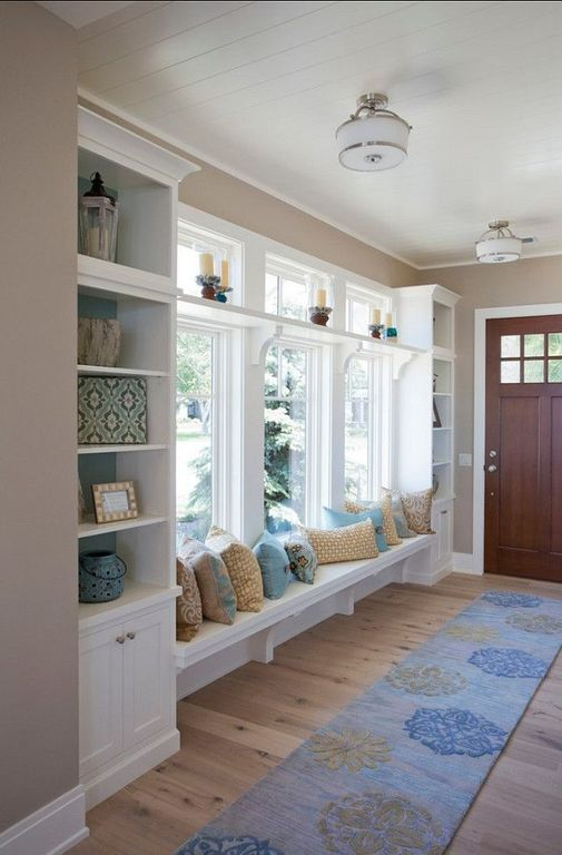 Traditional Mud Room with Glass panel door, picture window, Entry rug, Built in bench, Hardwood floors, Window seat, Paint
