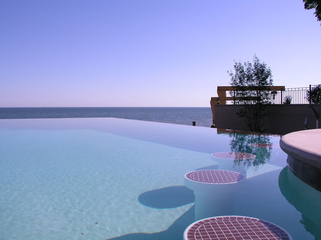 Contemporary Swimming Pool with Infinity pool, Fence