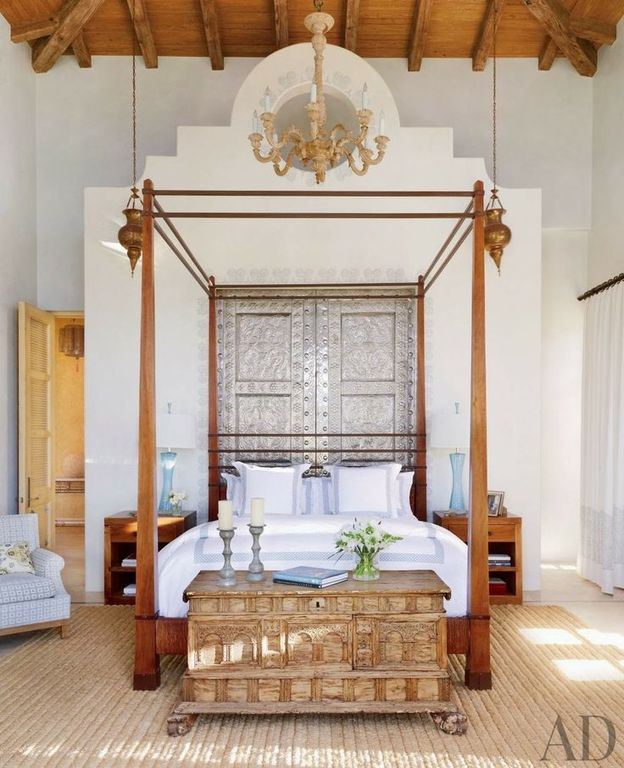 Eclectic Master Bedroom with Exposed beam, specialty door, Concrete floors, Paint 1, Paint 2, Louvered door, High ceiling