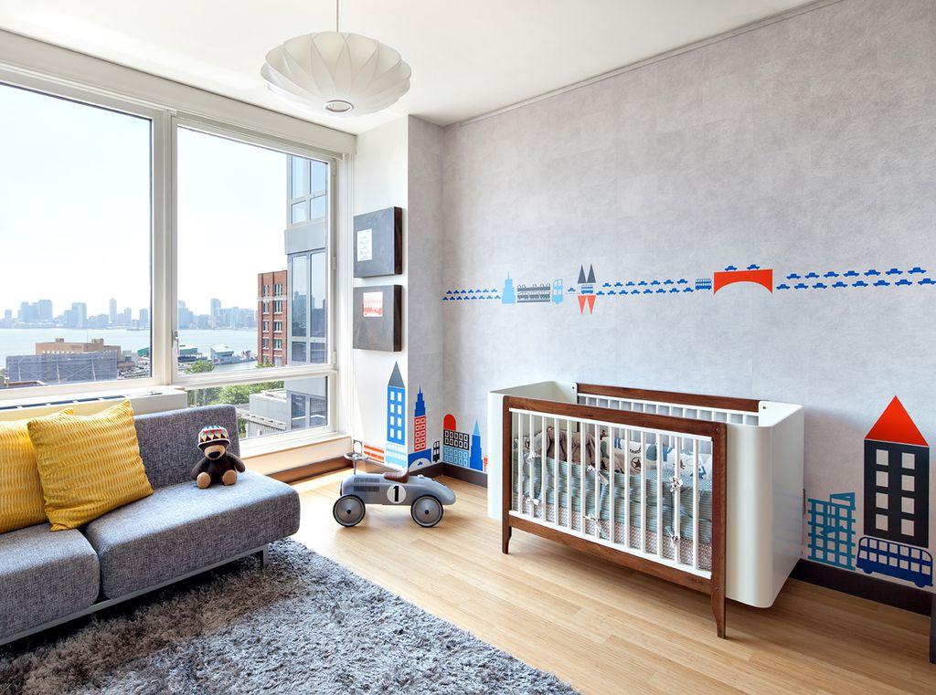 Contemporary Kids Bedroom with Hardwood floors, specialty window, Upholstered sofa, flush light, Shag rug, Standard height