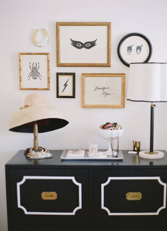 Art Deco Guest Bedroom with Portrait wall frame, gold, Gallery wall, White linen drum lamp shade with black piping